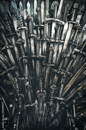 Metal knight swords background. Close up. The concept Knights. Wall mural