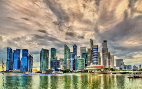 Skyline of Singapore on a cloudy day