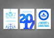 Happy new year 2017 and Merry Christmas vector modern brochure flyer design template with numbers. Set of Postcard, invitation. Vector illustration