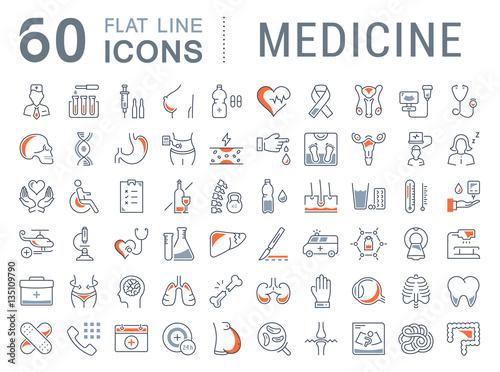Photo  Set Vector Flat Line Icons Medicine