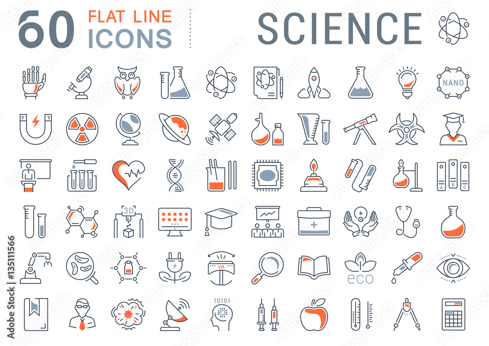 Fototapety, obrazy: Set Vector Flat Line Icons Science