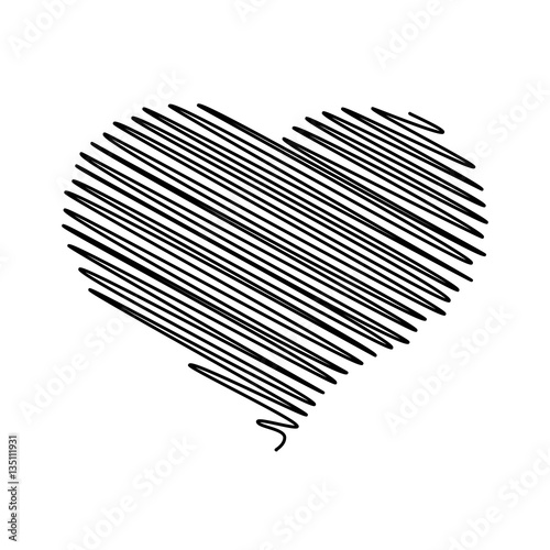 Heart Pencil Scribble Sketch Drawing In Black On White Background