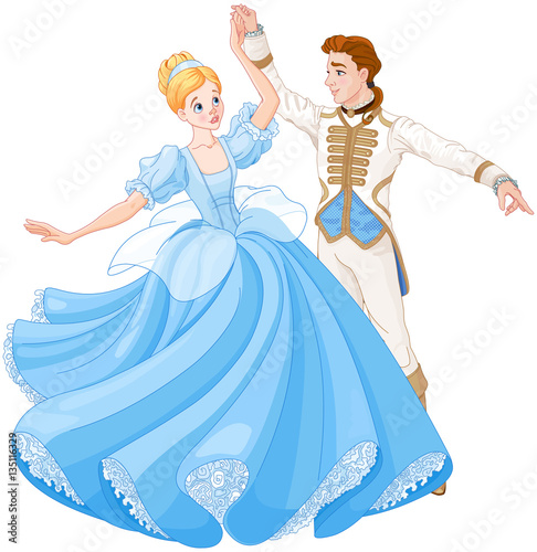 Tuinposter Sprookjeswereld The Ball Dance of Cinderella and Prince