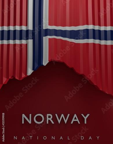 Flag Norway Render, Norwegian 3D Flag (3D Render) Poster