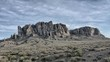 .Dramatic time lapse of clouds passing over the Superstition Mountains in the Arizona desert..