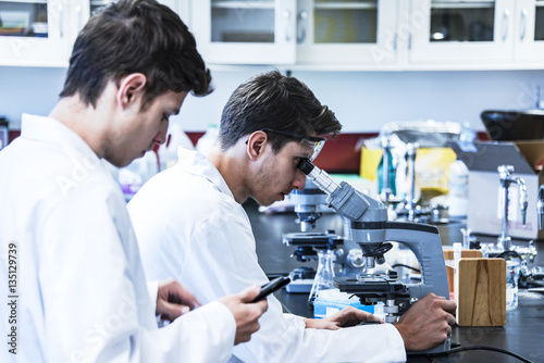 Fotografia  Science research project conducting with two young male scientific researchers i