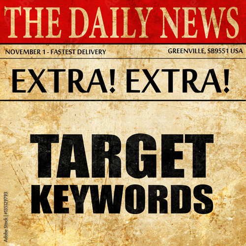 Photo  target keywords, newspaper article text