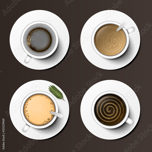 Fototapeta Coffee cups assortment top view collection vector illustration. obraz na płótnie