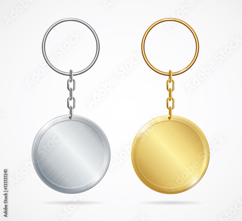Realistic Metal Keychains Set. Vector Wallpaper Mural