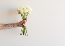 Middle Aged Woman's Arm Holding Long Stemmed Cream Roses With Copy Space To Right