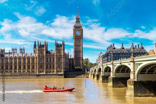 Big Ben, Parliament, Westminster bridge in London Poster