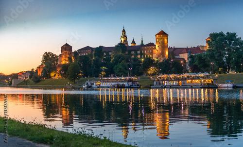 Fototapeta Quay in the evening, Krakow, Poland obraz