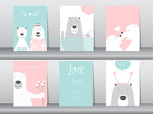 Set Of Cute Animals Poster,Design For Valentine's Day ,template,cards,dogs,Vector Illustrations