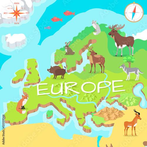 Obraz na dibondzie (fotoboard) Izometryczna mapa Europy z florą i fauną. Wektor