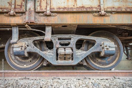 Aluminium Prints Old abandoned buildings railroad wheel on rail for transport