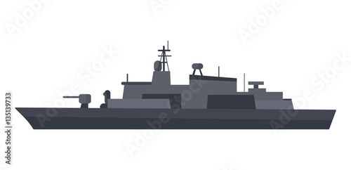 Obraz na płótnie Coast Guard Cutter Flat Design Vector Illustration