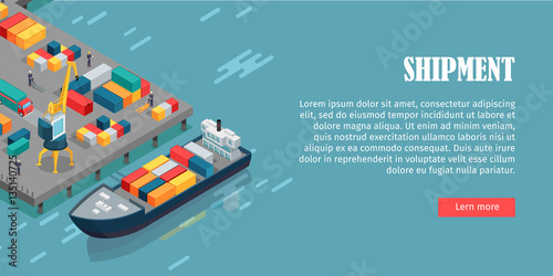Fotomural Port Warehouse Shipment Banner. Cargo Containers