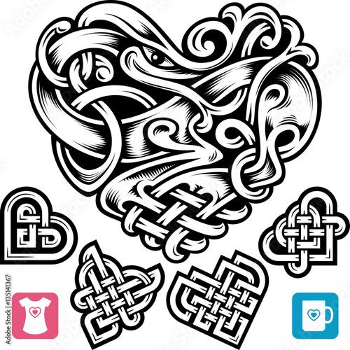 Vector Celtic Heart Set Cute Small Irish Tattoo Or Romantic Symbol