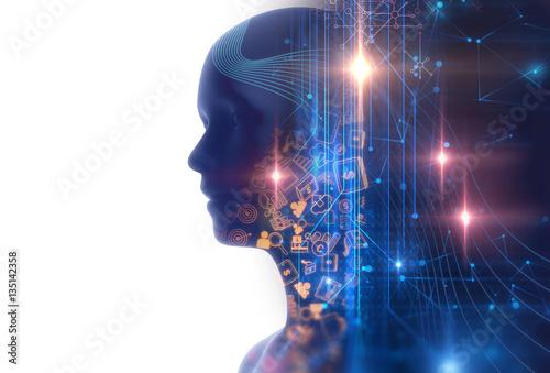 Fototapeta double exposure image of virtual human 3dillustration obraz