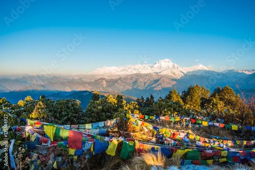 Foto auf Gartenposter Hugel Poon Hill view point for see snow mountain in Nepal , Annapurna range