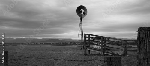 Windmill in the countryside. Black and White.
