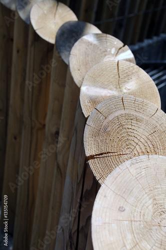 Fotografie, Obraz  Detail of a wooden palisade