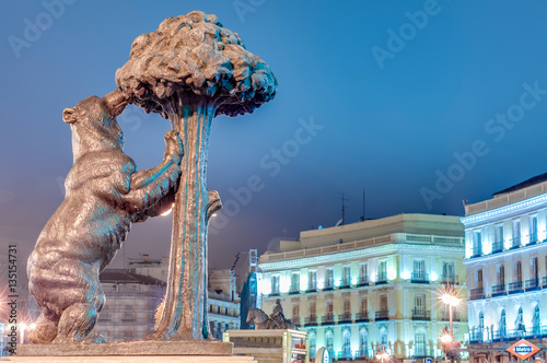 Bear and Strawberry Tree Statue in Madrid, Spain.