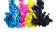 color splashes of ink in cyan magenta yellow black as symbol for subtractive CMYK color blending