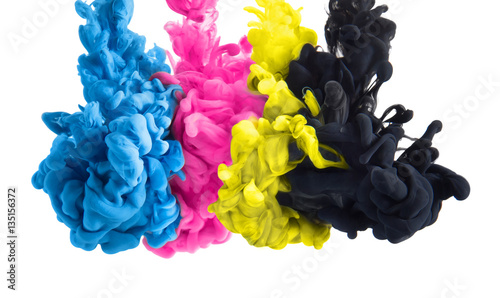 Foto op Plexiglas Vormen color splashes of ink in cyan magenta yellow black as symbol for subtractive CMYK color blending