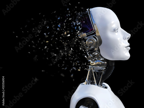 Obraz 3D rendering of female robot head that shatters. - fototapety do salonu