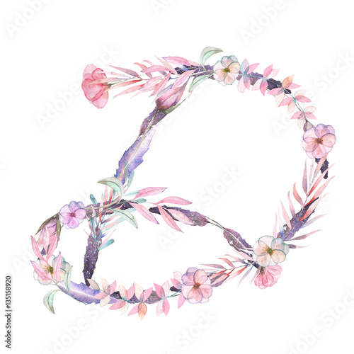 Capital Letter D Of Watercolor Pink And Purple Flowers Isolated Hand Drawn On A White