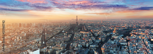 Obraz Paris skyline - panorama - fototapety do salonu