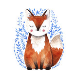 Watercolor fox illustration.  - 135164765