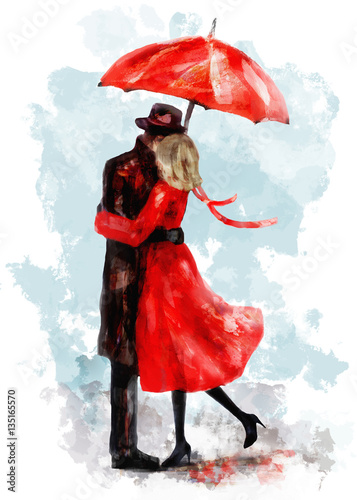 romantic couple under an red umbrella. Kiss. Watercolor lovely illustration for valentine's day. Young Man and woman in dress and shoes. Smooch. background with splash paint. Love