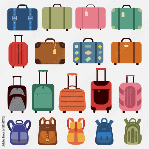 Flat icons luggage. Canvas Print