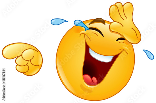 Fototapeta Laughing with tears and pointing emoticon