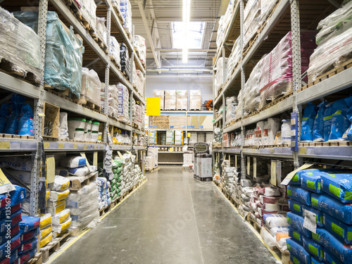 warehouse of building materials in industiral store - 135167945