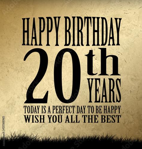 20 Geburtstag Mit Glückwunsch Buy This Stock Illustration