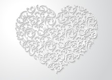 White Heart Shaped Floral Pattern With Leaves. Patterned 3d Love Symbol With Shadow On Light Background. Happy Valentines Day Beautiful Paper Cut Postcard
