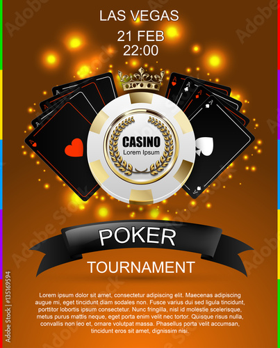 Vip Poker Luxury White And Golden Chip Golden Crown With Black Ace Card Vector Casino Poster Royal Poker Club Tournament Banner With Laurel Wreath Ribbon Spade Light Effect On Ocher Background Stock
