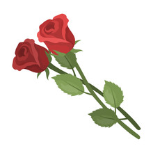 Two Roses Icon In Cartoon Styl...