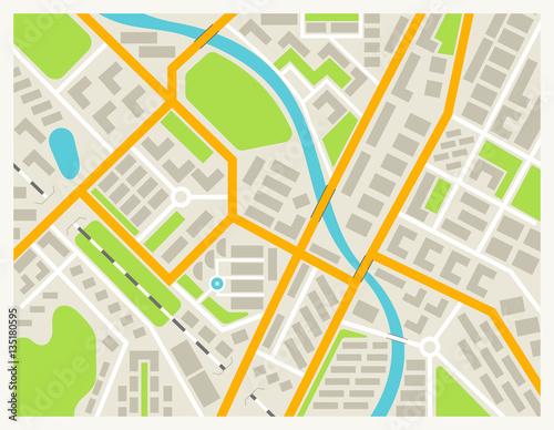 City map colored illustration for navigation program or mobile app City Map App on