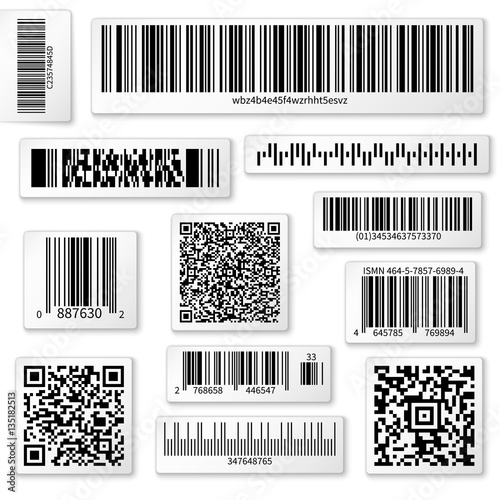 Fotografie, Obraz  Packaging labels, bar and QR codes on white vector stickers