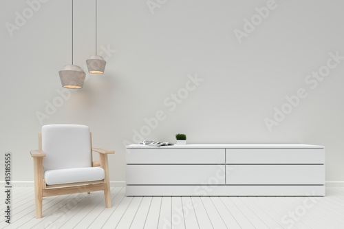 Fotografia, Obraz  The interior has a White sofa and lamp on empty white wall background,3D renderi