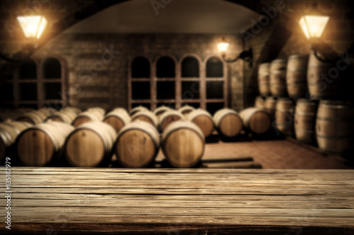table background and barrels Fototapet