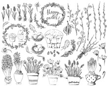 Hand Drawn Easter Design Elements Set With Easter Wreath, Eggs, Flowers, Willow Branches, Nest, Hyacinth, Crocus.