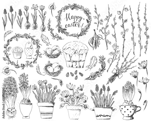Hand drawn easter design elements set with easter wreath, eggs, flowers, willow branches, nest, hyacinth, crocus Fototapeta