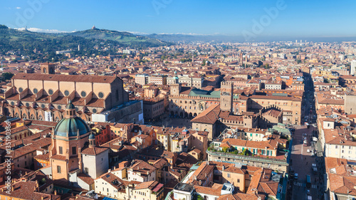 Fotobehang Praag above view of Piazza Maggiore and duomo in Bologna