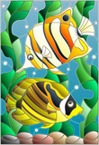 Illustration in stained glass style with a pair of fish butterfl