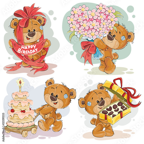 Clip art illustrations of teddy bear wishes you a happy birthday #135191555